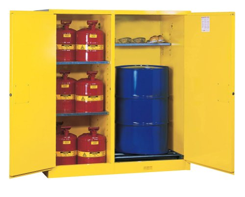 Justrite 899260 Sure-Grip EX Steel 2 Door Manual Double-Duty Flammables Safety Cabinet with Drum Rollers, 115 Gallon Capacity, 59