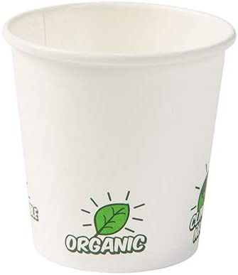 Recubrimiento PLA I 50 Tazas para Bebidas de 100 ml 4 oz BIOZOYG Tazas Desechables Ecol/ógico Bio degradables I Taza de Papel para Espresso Taza Blanca con EcoUp /© Icon