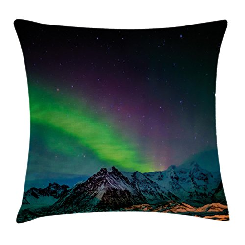 Northern Lights Throw Pillow Cushion Cover by Ambesonne, Southern Iceland on Sky over Rocky Hills Wild Night View, Decorative Square Accent Pillow Case, 18 X18 Inches, Lime Green Dark Blue (Southern Textiles Square Pillow)