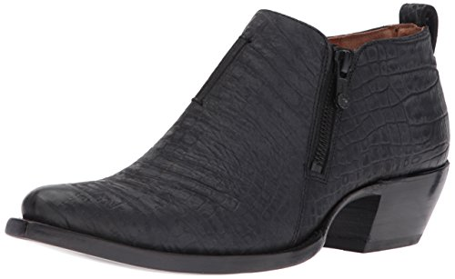 Frye Womens Sacha Moto Shootie Nero In Coccodrillo In Rilievo