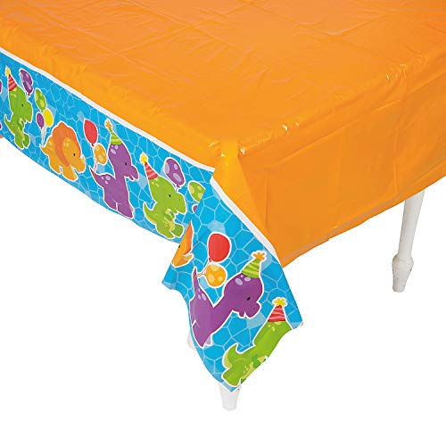 Fun Express - Little Dino Table Cover for Birthday - Party Supplies - Table Covers - Print Table Covers - Birthday - 1 Piece -