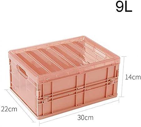 XINTONGLO Caja de Almacenamiento Plegable 9L / 27L Brown de plástico con Tapa de Cubos Cesta portátil,Rosado,9L: Amazon.es: Hogar