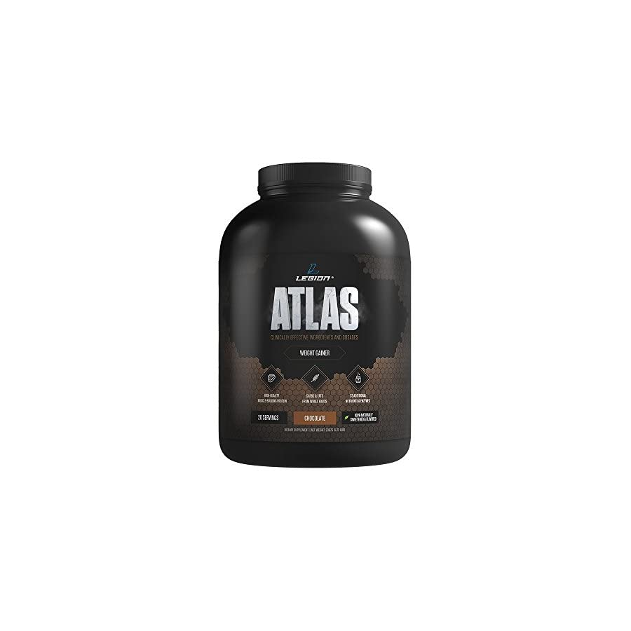 Legion Atlas Weight Gainer Supplement Healthy Meal Replacement Shake with Grass Fed Whey Protein Isolate & Micellar Casein, Naturally Sweetened & Flavored, Chocolate, 5.22 LBS