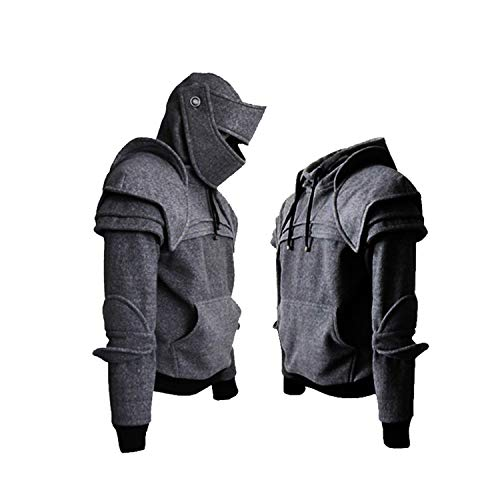 Mens Knight Hoodie Medieval Arthur Armored Medieval Knight Pullover Long Sleeve Costume ()