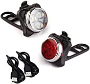 LE Rechargeable LED Bike Light Set, Arespark Headlight Taillight Combinations, Includes Front and Rear Bicycle