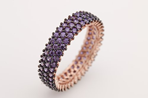 Special Design 3 Lines Turkish Handmade Jewelry Amethyst Zircon Stone 925 Sterling Silver Band Ring All Size