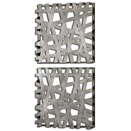 Uttermost 07676 Alita Squares Wall Art (Set of 2), Silver