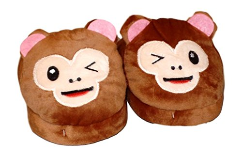 Zapatillas Para Adolescentes Royal Deluxe Plush Monkey Face Para Adultos - 4 Diseños Monkey Para Guiño