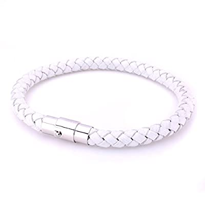 JewelrieShop Braided Leather Bracelets for Mens Women Woven Wrap Bracelet Magnetic Lock Clasp Genuine Leather Bracelet Wristband Vintage Cuff Bracelet Leather Jewelry Friendship Couple Bracelet