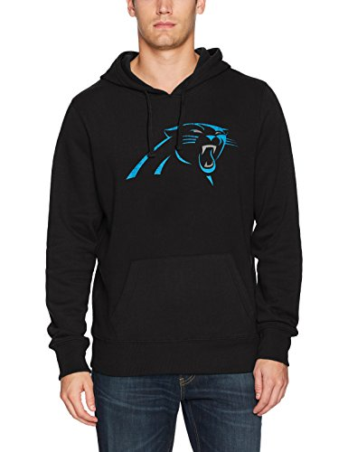 NFL Carolina Pantshers Men's Ots Fleece Hoodie Distressed, Small, Jet ()