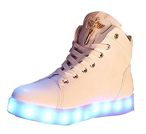 (Present:kleines Handtuch)JUNGLEST Damen Hohe Sneaker Weiß USB Aufladen LED Leuchtend Fasching Partyschuhe Sportsc Weiß