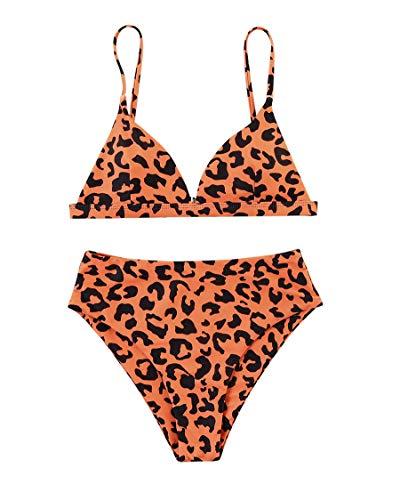 MOSHENGQI Women Cheeky Bikini Sets Padded Brazilian Top High Cut Bottom Leopard 2 Piece Swimsuits (Large, Light Orange)