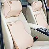 Anyshock Car Seat Headrest Pillow and Car Lumbar Support Pillow Travel Auto Head Neck Rest Cushion with Ergonomically Design for Adjust Sitting Position Relief Pain of Back/Spine/Coccyx (Beige)