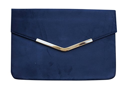 Purse Suede Leather Handbag (Chicastic Suede Envelope Clutch Purse - Navy Blue)