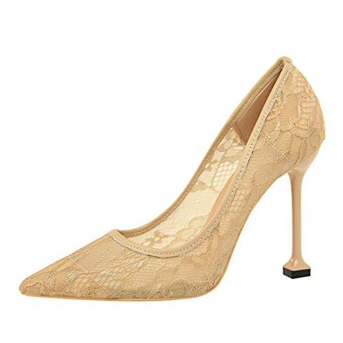 85e8bc826c75f3 YE Damen Stiletto High Heels Spitze Pumps mit 10cm Absatz Elegant Party  Schuhe Aprikose
