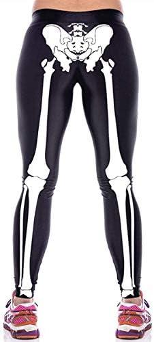 Aventy Womens Girls Fashion Digital Print Stretch Leggings Full-Length Black White Skeleton Bone Skull Tights Pants