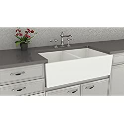 Farmhouse Kitchen Sink White – Double Bowl Fireclay with Apron Front – Undermount or Overmount Design – Smooth – 33 Inches