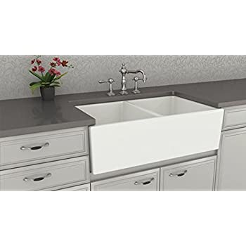this item farmhouse kitchen sink white u2013 double bowl fireclay with apron front u2013 undermount or overmount design u2013 smooth u2013 33 inches