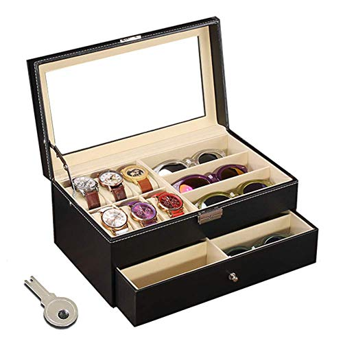 Flytianmy Leather Watch Box and Sunglass Glasses Case Organizer and Jewelry Case Display Drawer Lockable Case Organizer ()