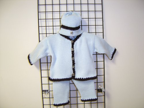 Cpk601bbr, Knitted on Hand Knitting Machine Then Finished By Hand Crochet Infant Boys Outfit, Containing Baby Blue Cotton Crocheted Dark Brown Chenille Trim Cardigan Sweater, Pant Hat Set.