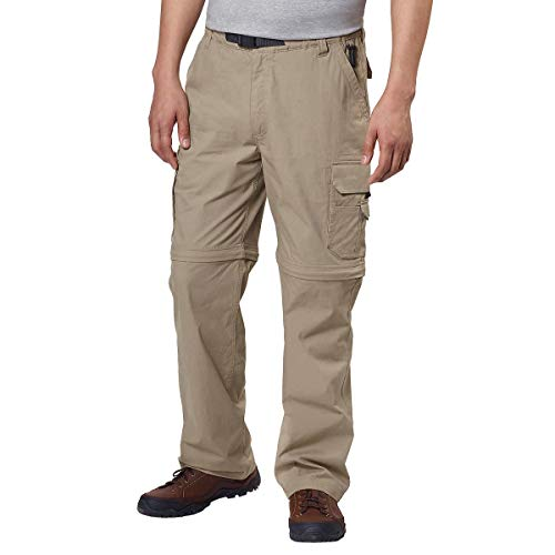 - BC Clothing Mens Convertible Stretch Cargo Hiking Pants Shorts, Zippered Pockets (Large x 32L, Khaki Tan)