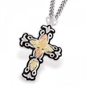 Black Hills Gold Silver Men's Cross Necklace