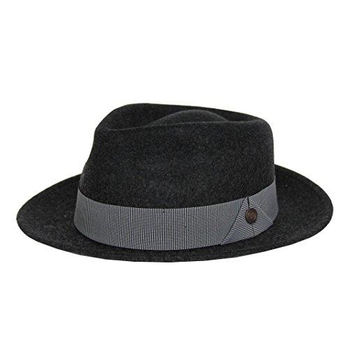 Dasmarca Mens Milange Wool Felt Wide Brim Fedora Hat - James Grey XL