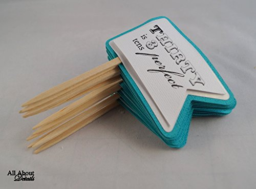 All About Details Teal 30th Birthday Quotes Cupcake Toppers,