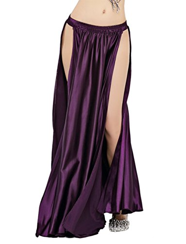 - Dance Fairy Satin High Split Midi Skirt(no Belt),Purple