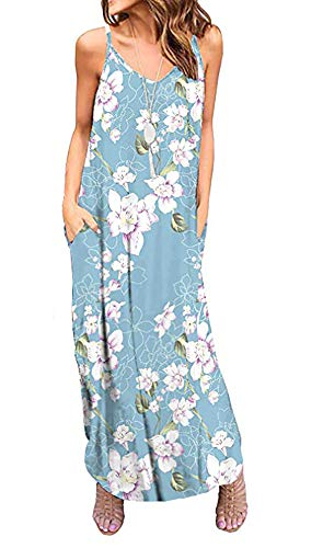 OURS Women's Summer Sleeveless Loose Plain Maxi Dress Floral Print Casual Long Dresses with Pockets (S, Blue Floral)