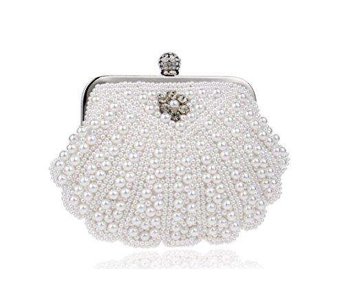 Women Clutch Bag Purse Evening Handbag Glitter Pearl Shoulder Bag For Bridal Wedding Party Prom Clubs Ladies Gift,White-1915cm