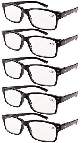 Eyekepper 5-Pack Spring Hinges Vintage Reading Glasses Men Readers Black 2.50