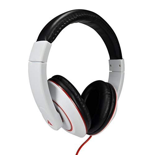 Audio Council Premier Stereo Over-Ear Headphones White/Red - DJ Style