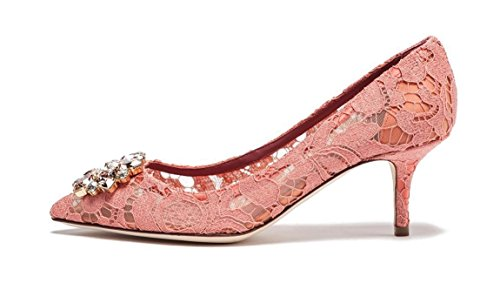 yBeauty Womens Mid Heels Pointed Toe Sexy Lace Pumps Rhinestone Slip On Stiletto Heels Shoes for Wedding Lace Pink ()