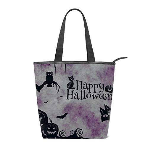 Women's Canvas Shoulder Bag Happy Halloween Cat Pumkins Clipart Bag Weekend Shopping Big Bag Tote Handbag Work Bag