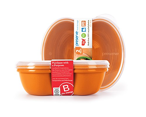 Preserve Square Food Storage Container Made from Recycled Plastic, 25 Ounce Capacity, Set of 2, (Recycled Storage)