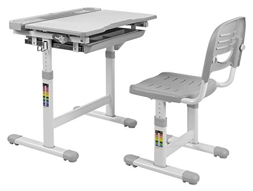 Mount-It! Kids Desk and Chair Set, Height Adjustable Ergonomic Children's School Workstation with Storage Drawer, Grey