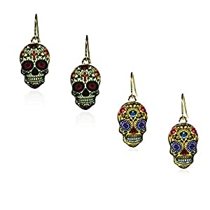 New Day Of The Dead Rock Vintage Halloween Dangle Earrings, Nickel Free And Anti-allergic