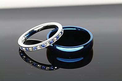 KingswayJewelry His and Hers 925 Sterling Silver Blue Sapphire Stainless Steel Wedding Rings Set Blue #SP24BLMSBL KJ-258