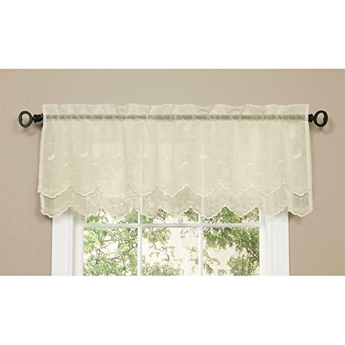 Commonwealth Home Fashions Hathaway Double Scalloped Valance, Cream, 54 x 17