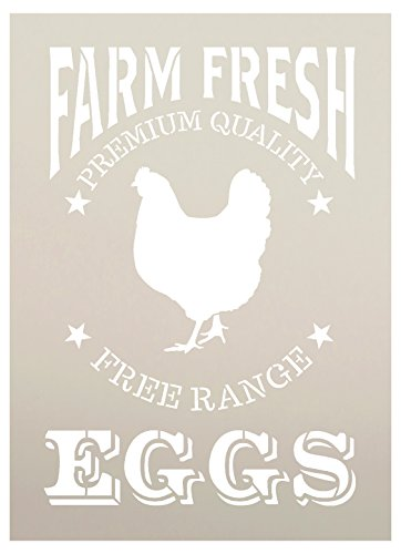 Farm Fresh Eggs, Chicken Stencil by StudioR12 | Reusable Mylar Template | Paint, Chalk | Use for Crafting, Vintage Wood Signs, Wall Decor, DIY, Modern Farmhouse, Country, - STCL1107 (9'' x 12.5'') by Studio R 12