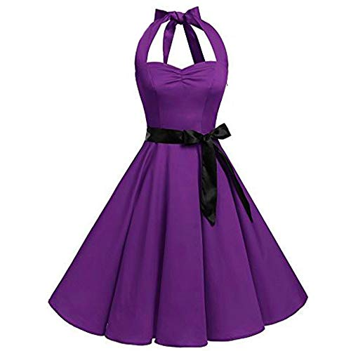 Sexy Dresses for Women 2019 Sleeveless Solid Zipper Hepburn Vintage Swing High-Waist Pleated Dress Sale Purple L ()