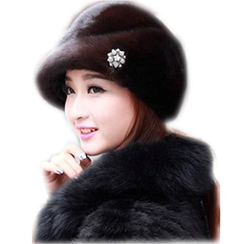 (MH Bailment Women Winter Berets Real Whole Leather Mink Cap Korean Ceremony hat (M(56-58cm), Dark)