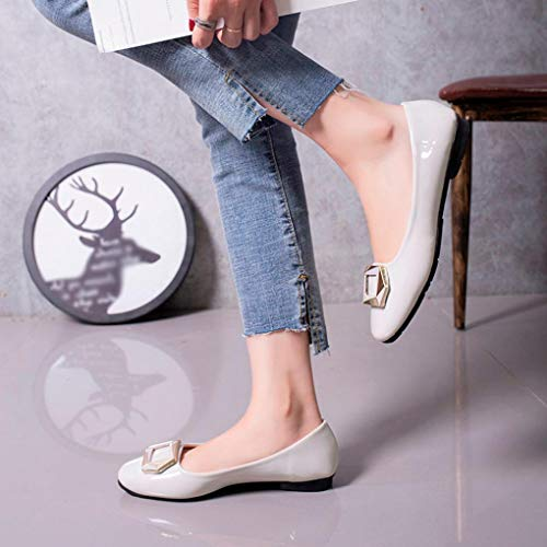 Single Shallow Buckle Women Retro Heel Slip Shoes Shoes Square On Toe Low Grey Autumn Round FALAIDUO npO5wx0n