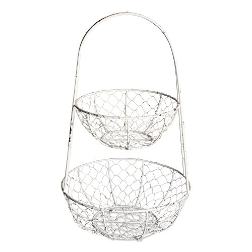 DII Z01923 Vintage Metal Chicken Wire 2 Tier Fruit And Vegetable Standing Storage Basket, Antique White (Fruit White Basket)