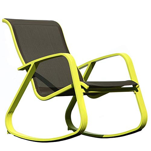 Grand patio Modern Swing Rocking(Rock) Chair Glider with Lemon Green Aluminum Frame, Indoor Bedroom/Outside Style ()