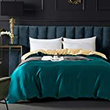 ZIMASILK 100% Mulberry Silk Duvet Cover,Both Sides 19 Momme Nature Silk Bedding Cover with Zipper Closure,Comfy &Soft,1 pcs(Two Colors:Peacock Blue+Champagne,King:104