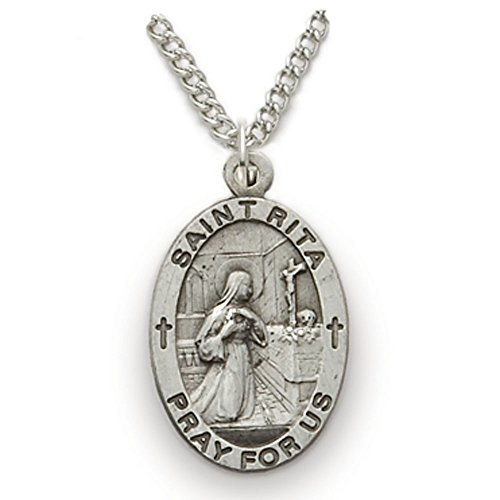 Sterling Silver Oval Saint Rita Patron of Impossible Cases Medal, 3/4 Inch