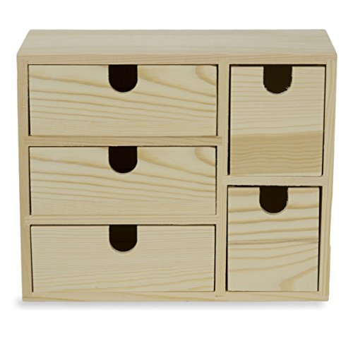 Small Multi Purpose Desktop Organizer Caddy with 5 Drawers Storage Cabinet Sewing Box and DIY Craft Project Solution to Your Everyday Needs (Unfinished Wood)