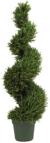 4' Spiral (Nearly Natural 5170 Rosemary Spiral Silk Tree, 4-Feet, Green)